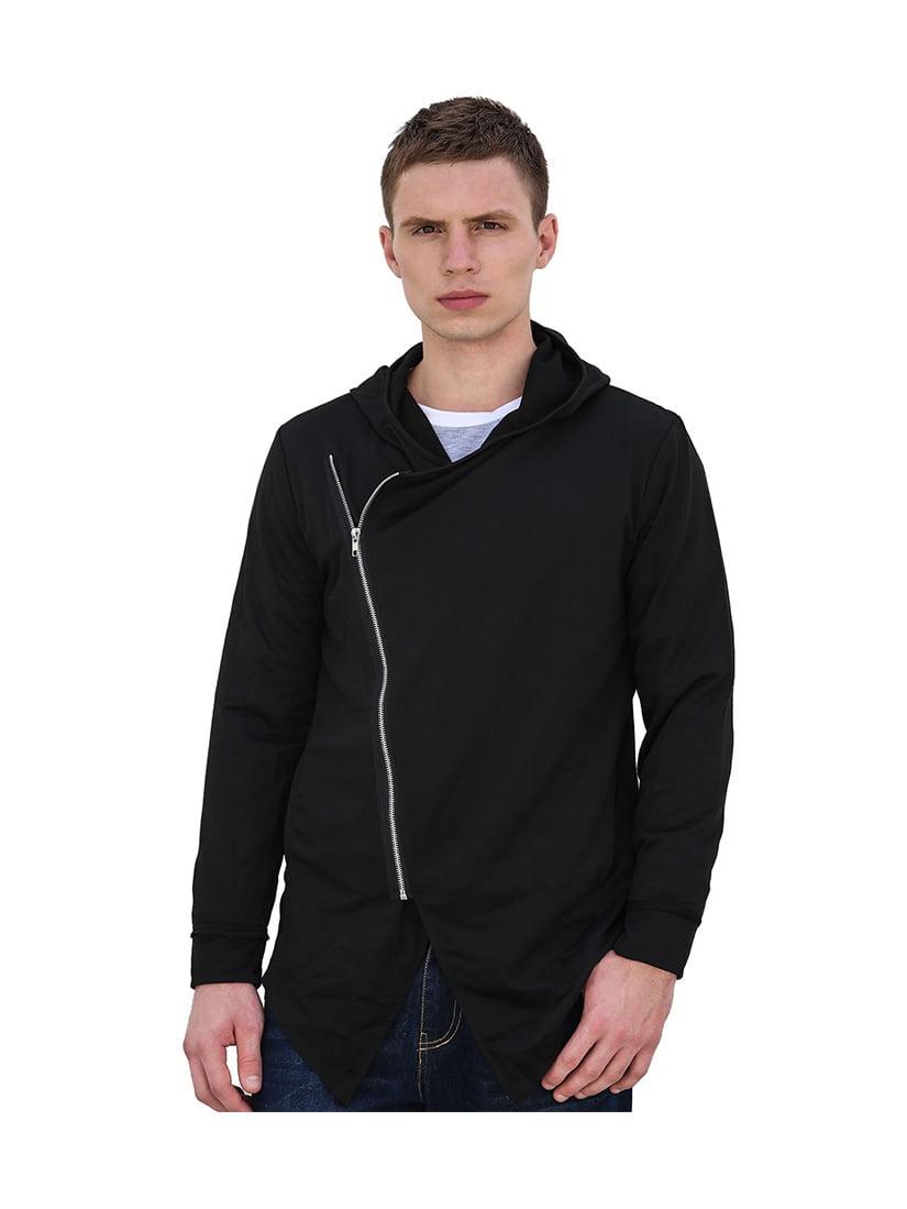 Men Inclined Zip Closed Long Sleeves Casual Hooded Cardigan Black S