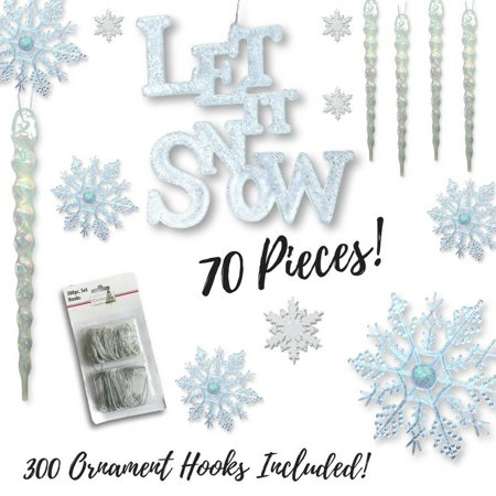Winter Wonderland Decorations - Set of 70 Assorted Christmas Ornaments - Snowflakes - Icicles - Let It Snow Sign - White Glittery Xmas Ornaments,.., By Banberry Designs
