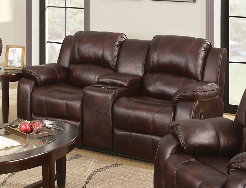 ACME Zanthe Reclining Loveseat with Console in Brown Polished Microfiber by Acme Furniture