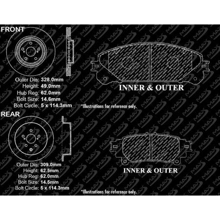 Max Brakes Front & Rear Premium Brake Kit [ OE Series Rotors + Ceramic Pads ] KT080443 | Fits: 2014 14 2015 15 Toyota Sienna - image 7 of 8