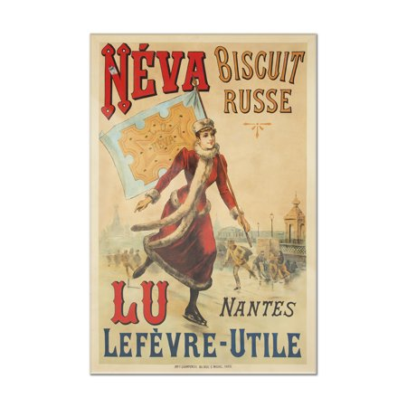 Biscuit Acrylic - Neva - Biscuit Russe Vintage Poster France c. 1892 (8x12 Acrylic Wall Art Gallery Quality)