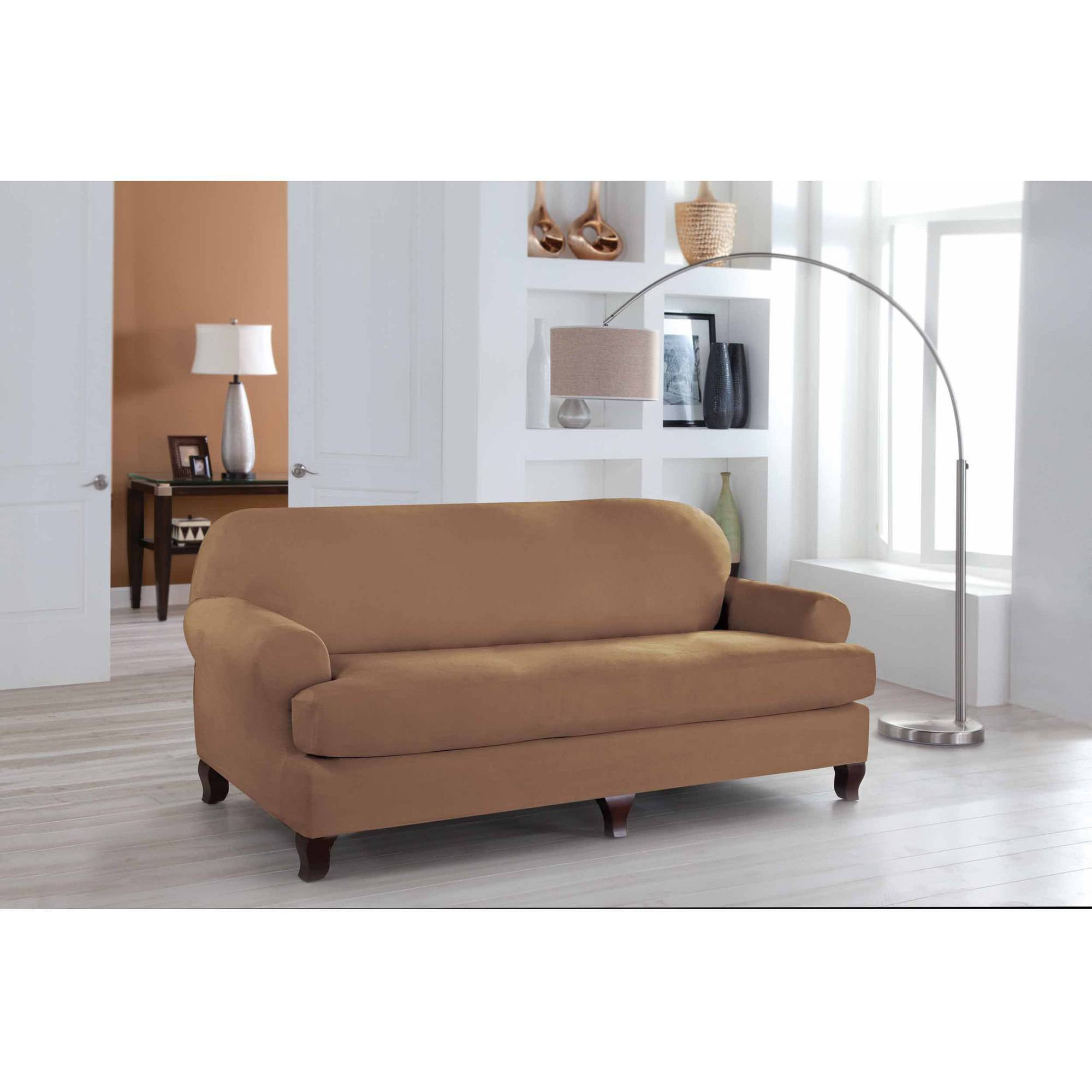 Serta Stretch Fit Microsuede Slipcover Sofa 2 Piece T Cushion