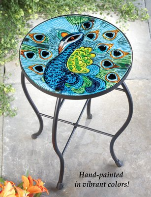 Beautiful Hand-painted Peacock Glass Patio Accent Table With a Stunning Assortment Multicolor Outdoor Decor by Bigbolo