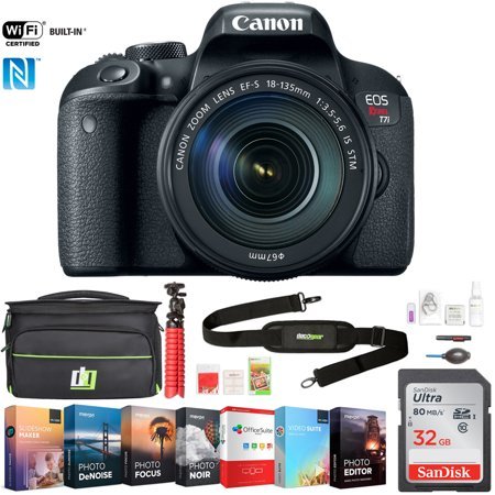 Canon EOS Rebel T7i Digital SLR Camera with EF-S 18-135mm IS STM Kit (1894C003) w/ 32GB Deluxe Accessory Bundle Includes, Deco Gear Camera Bag and Photo and Video Professional Editing Suite