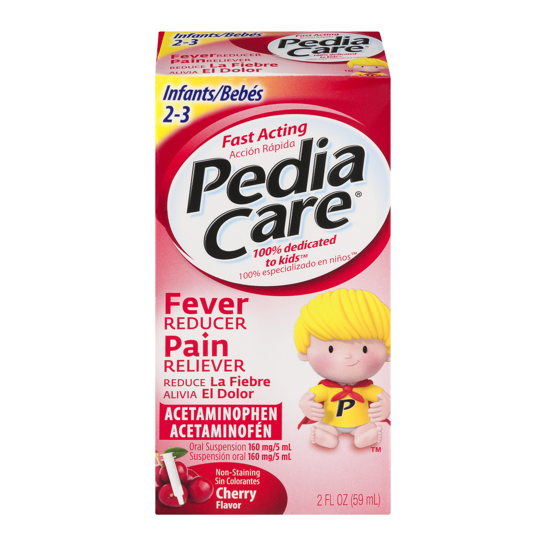 Pedia Care Fever Reducer Pain Reliever Cherry Flavor, 2.0 FL OZ