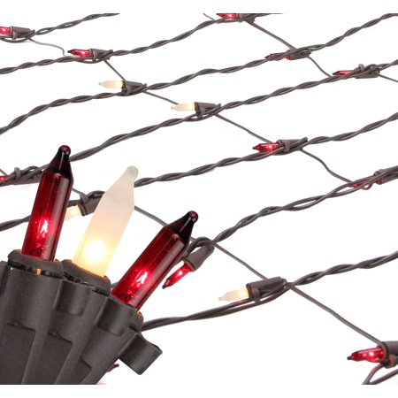 Brite Star 70ct Mini Trunk Wrap Net Lights Red/Frosted Clear - 2' x 8' Brown Wire