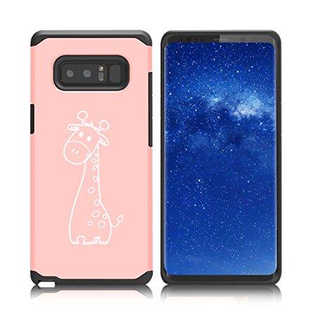 Giraffe Folded Note - For Samsung Galaxy (Note 8) Shockproof Impact Hard Soft Case Cover Cute Giraffe Cartoon (Rose Gold)