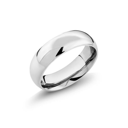 Stainless Steel High Polished Comfort Fit Men's Wedding Band Ring 6mm Wide