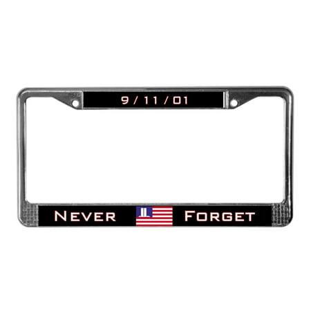 CafePress - The WTC Memorial Flag - Chrome License Plate Frame, License Tag