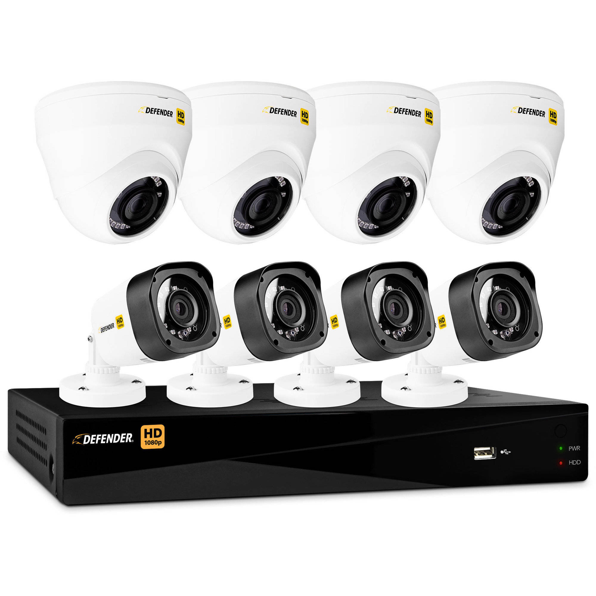 Defender HD 1080p 8-Channel 1TB DVR Security System with 4 Dome and 4 Bullet Cameras