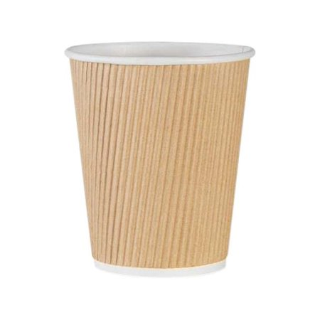 Brown Paper Cups (Genuine Joe Ripple Paper Cups, 10 Oz, Brown, 25)