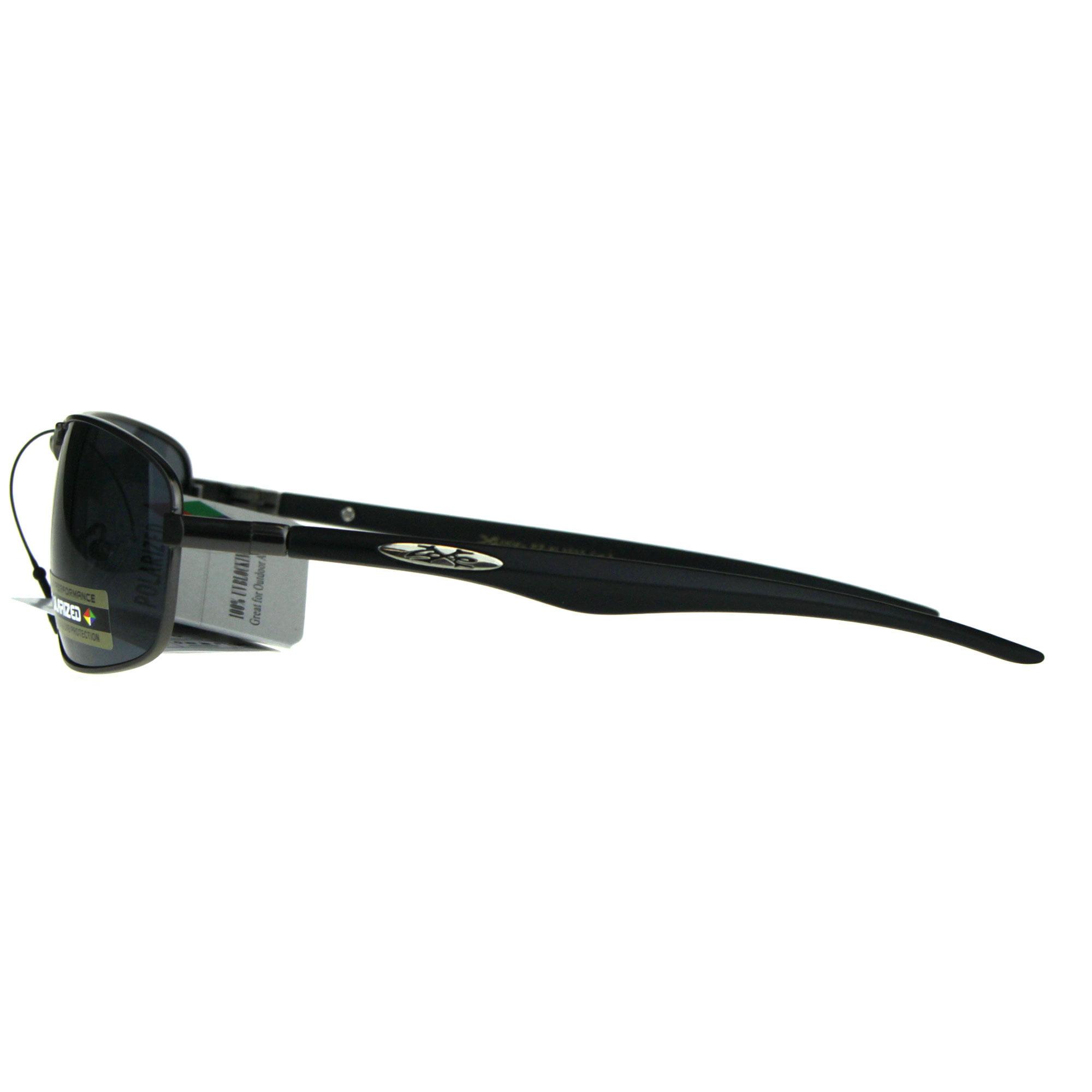 eaef0e86cb22 SA106 - Polarized Xloop Rectangular Metal Rim Warp Sport Mens Sunglasses  All Black - Walmart.com