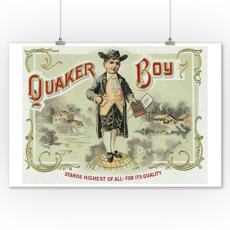 Quaker Boy Brand Cigar Box Label (9x12 Art Print, Wall Decor Travel Poster)](Its A Boy Cigars)