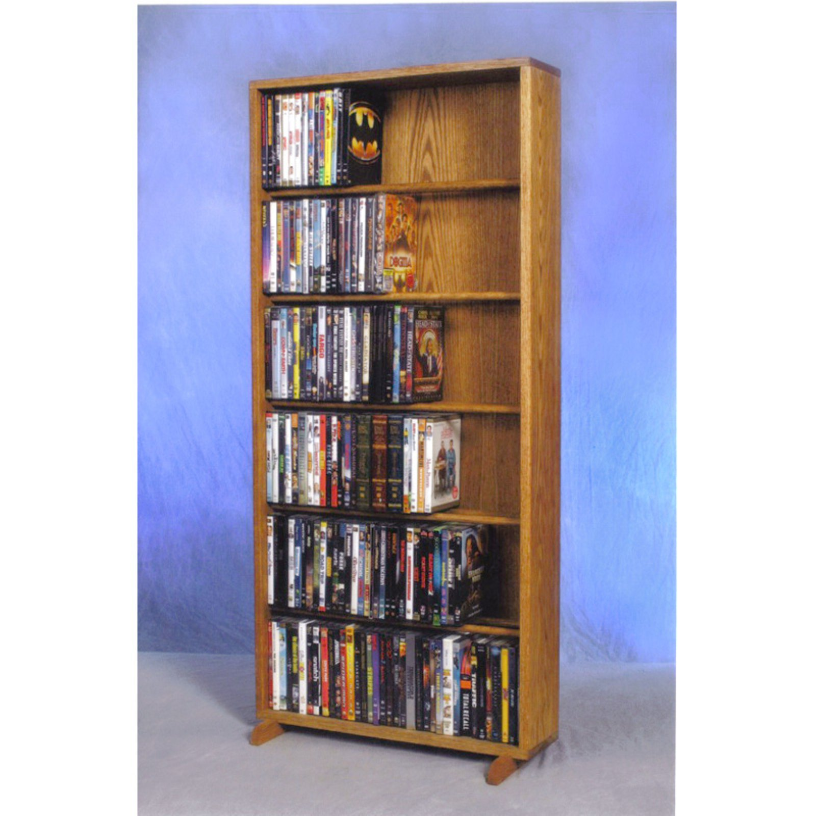 The Wood Shed Solid Oak 6 Row Dowel CD   DVD Combination Media Rack 24 in. Wide by The Wood Shed