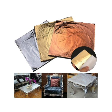 300 Sheets Imitation Gold, Silver and Copper Leaf For DIY Arts, Gilding Crafting, Decoration 5.5X5.5 - Copper Decorations
