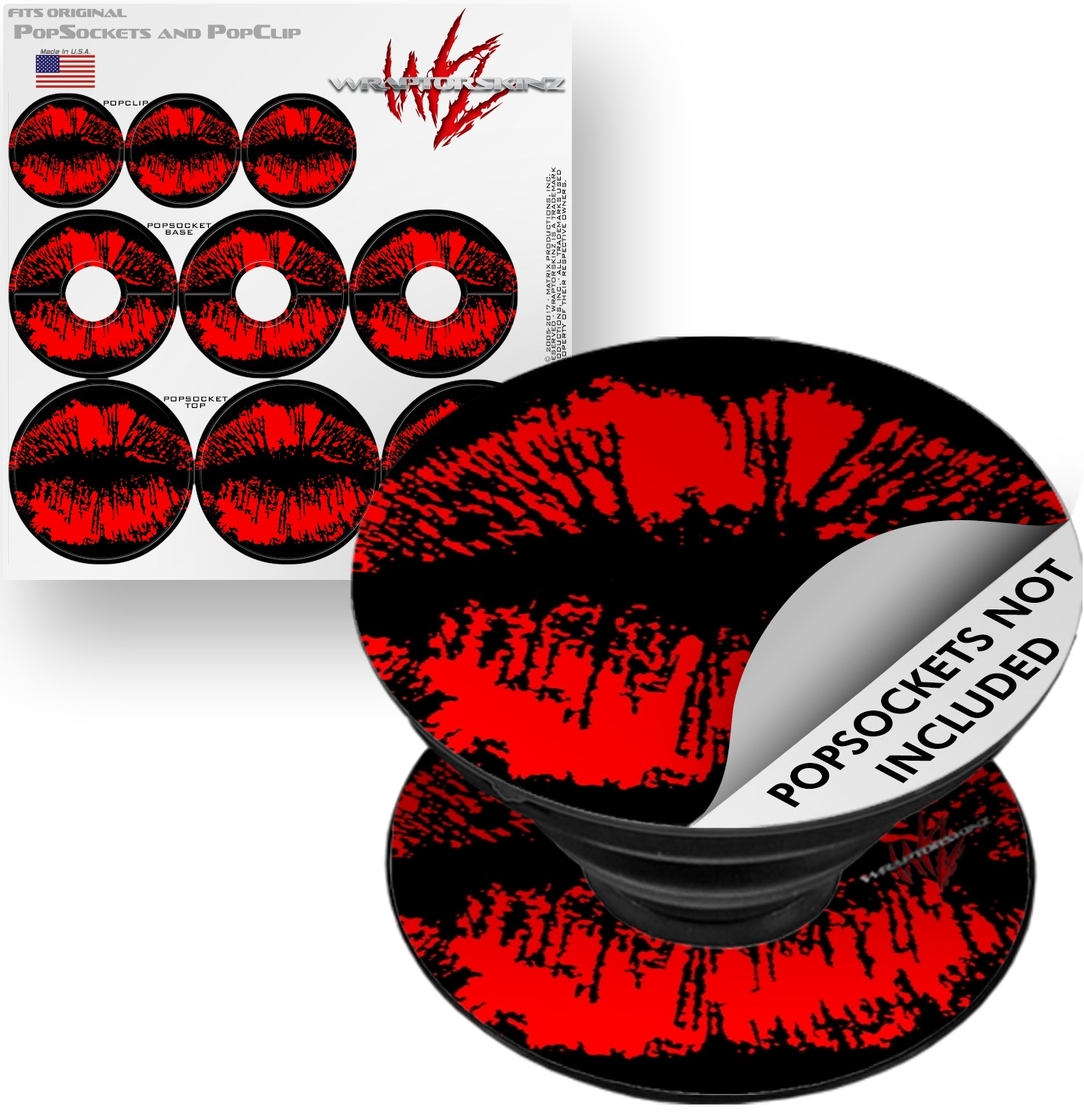 Decal Style Vinyl Skin Wrap 3 Pack for PopSockets Big Kiss Lips Red on Black (POPSOCKET NOT INCLUDED) by WraptorSkinz