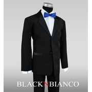 Boys Tuxedos in Black with Royal Blue Bow Tie and Black Bow Tie