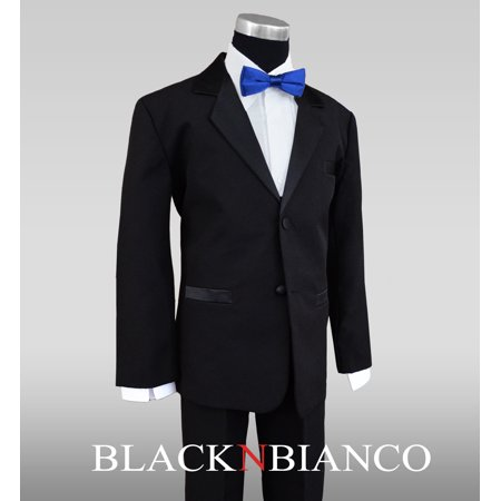 Boys Tuxedos in Black with Royal Blue Bow Tie and Black Bow Tie](Royal Blue And Black)