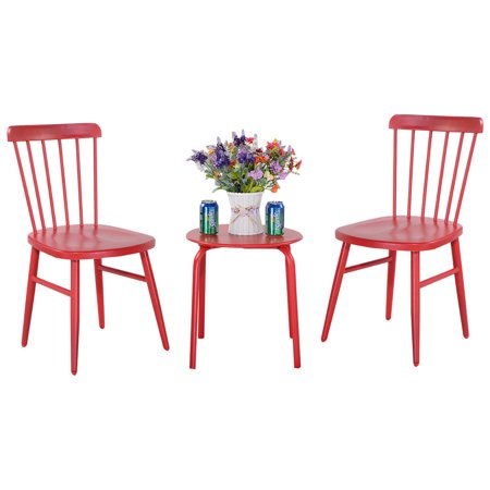 - GHP 3-Pcs Red Durable Heavy Duty Steel Frame Patio Round Table and Chairs Bistro Set