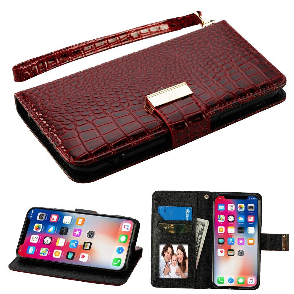 iPhone X Wallet Case with MIRROR Tempered Glass Screen Protector, by Insten Crocodile Flip Leather Fabric Stand Case with Card holder For Apple iPhone X - Burgundy