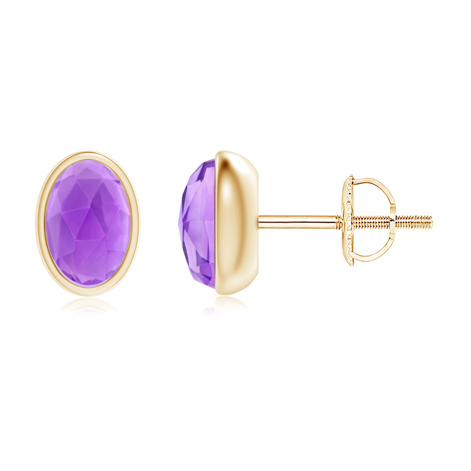 Angara Oval Amethyst Stud Earrings Yellow Gold EUTcRJwJ