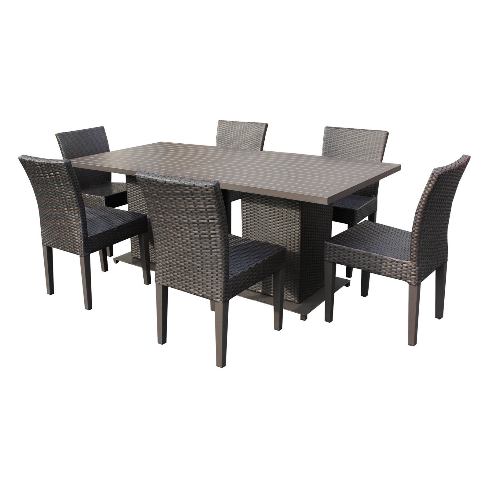TK Classics Napa Wicker 8 Piece Outdoor Dining Table Set