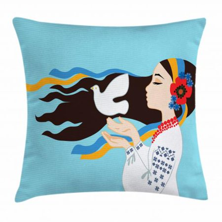 Dove Costume (Hippie Throw Pillow Cushion Cover, The Girl Wearing Ukranian Ethnic Costume and Hairband Sends a Dove for World Peace, Decorative Square Accent Pillow Case, 18 X 18 Inches, Multicolor, by)