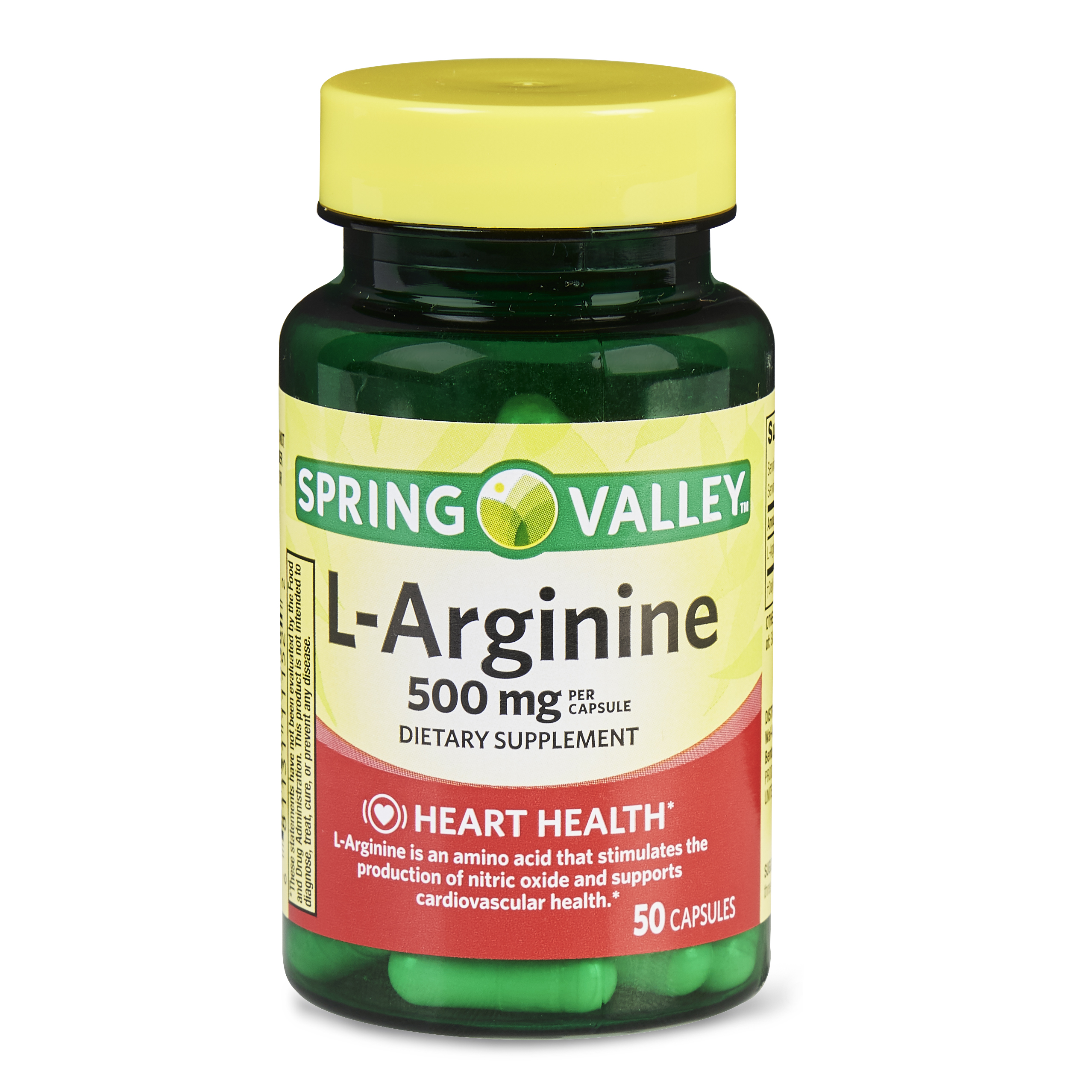 Spring Valley L-Arginine Capsules, 500 mg, 50 Ct