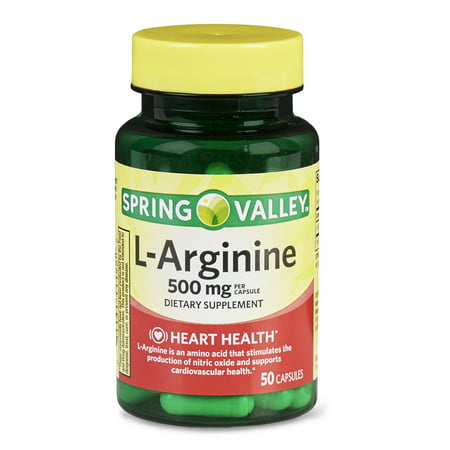 (2 Pack) Spring Valley L-Arginine Capsules, 500 mg, 50 (Best Arginine Supplement For Ed)