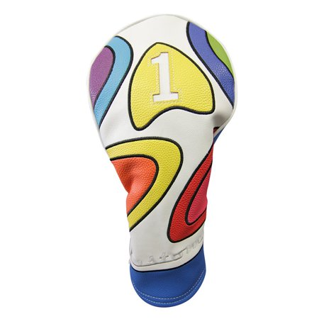 Majek Retro Golf Headcover Limited Edition Vintage Leather Style Psychedelic Colorful Groovy Custom Design 1 Driver Head Cover Fits 460cc Drivers Custom Leather Designs