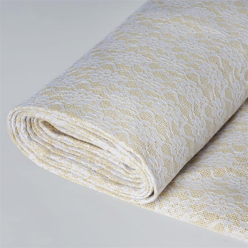 Efavormart 54 inch x 4 yards Natural Burlap with White Lace Fabric Roll