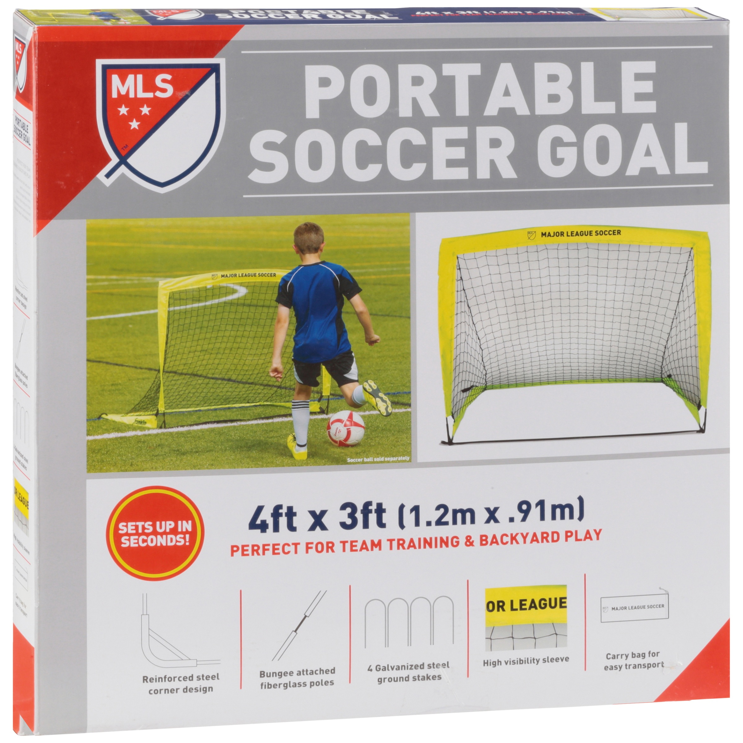 9d9647e32 Franklin Sports MLS 4' x 3' Portable Goal for backyard ( Includes Peg Hooks  and Carry Bag) - Walmart.com
