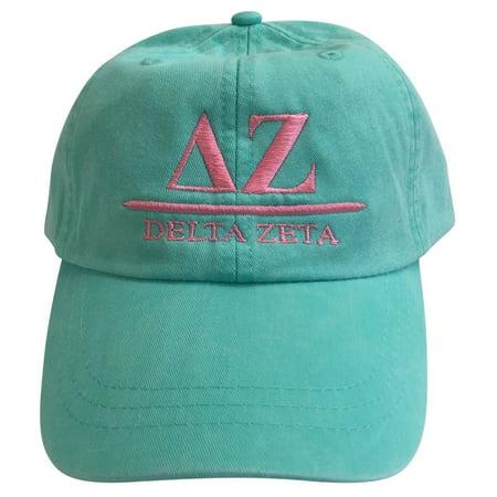 Cereal Baseball (Delta Zeta (B) Sea Foam Baseball Hat with Coral Thread )