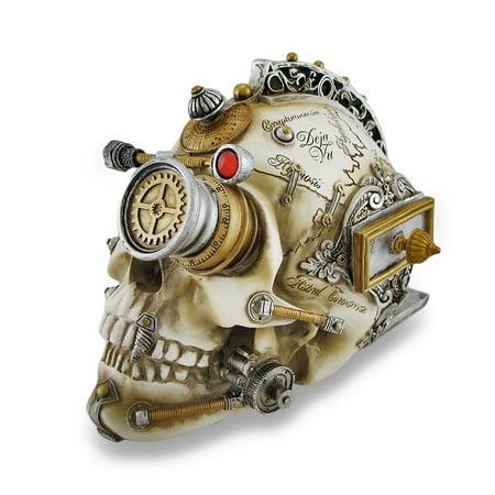 Erasmus Darwins Steam Cerebrum Steampunk Skull Statue W Stash Drawer