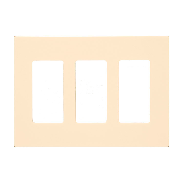Morris Products 3 Gang Decorator Screwless Snap in Wall Plates in Almond