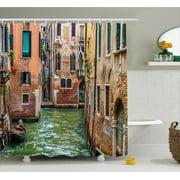 Venice Shower Curtain Italian City On Water Historical Landmark Famous Streets Houses Gondolas Europe