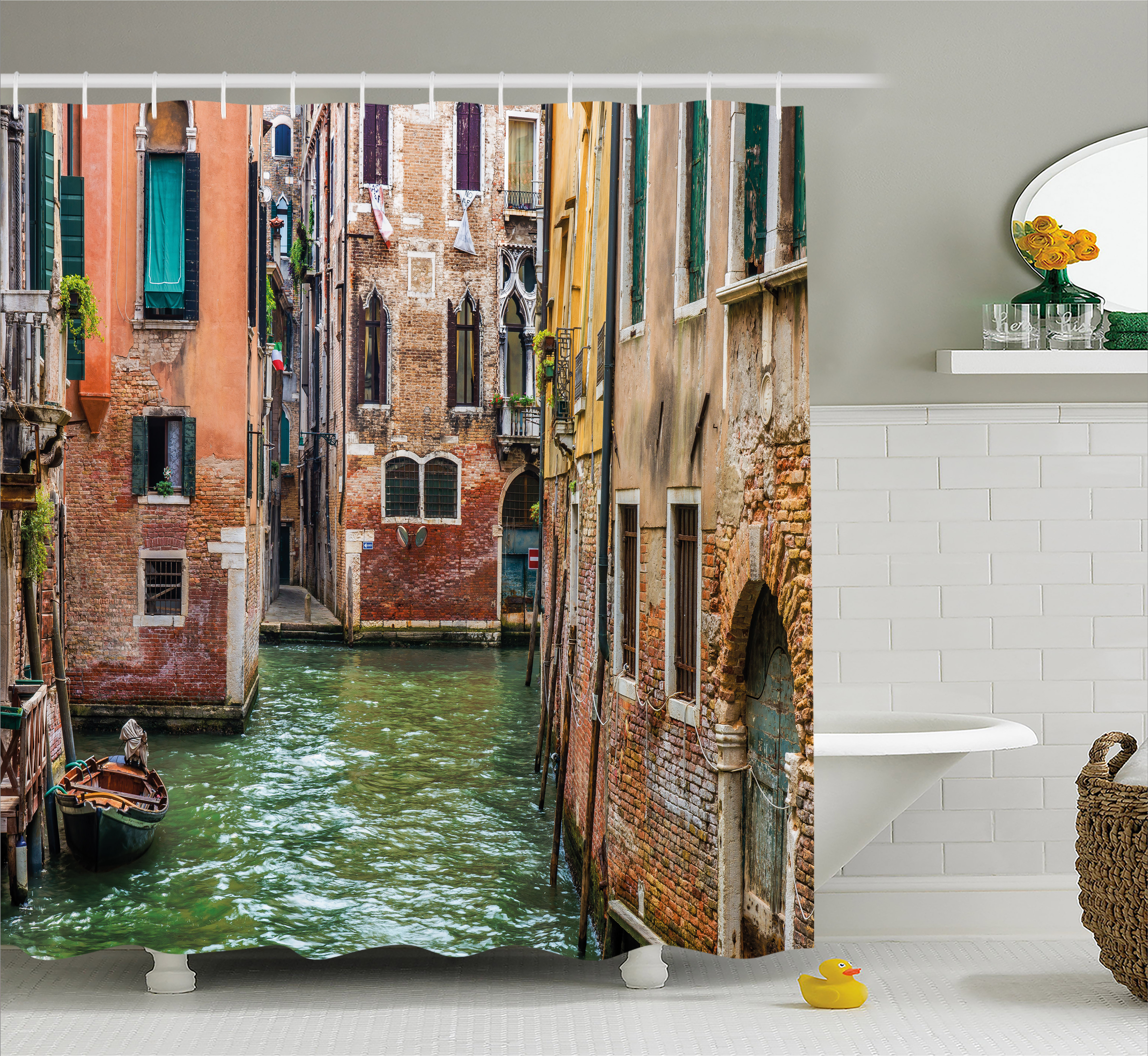 Venice Shower Curtain, Italian City on Water Historical Landmark Famous Streets Houses Gondolas Europe, Fabric Bathroom Set with Hooks, 69W X 75L Inches Long, Multicolor, by Ambesonne