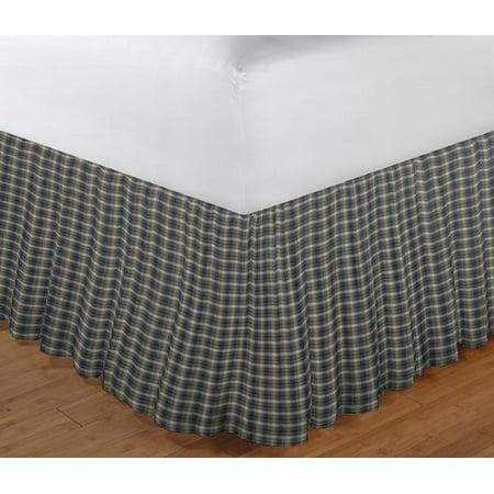 "Image of Patch Magic Blue Black Plaid Fabric Dust Rfl King 78""X 80"""