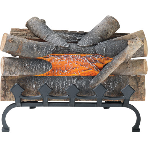 "Pleasant Hearth 20"" Natural Wood Electric Crackle Log with Grate, L-20WG"