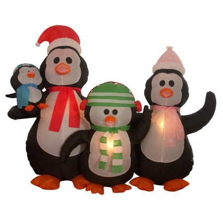 5' Inflatable Penguin Family Lighted Christmas Yard Art Decoration
