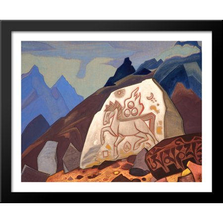 Stone Metal Horse (White Stone (Sign of Cintamani or Horse of happiness) 34x28 Large Black Wood Framed Print Art by Nicholas Roerich)