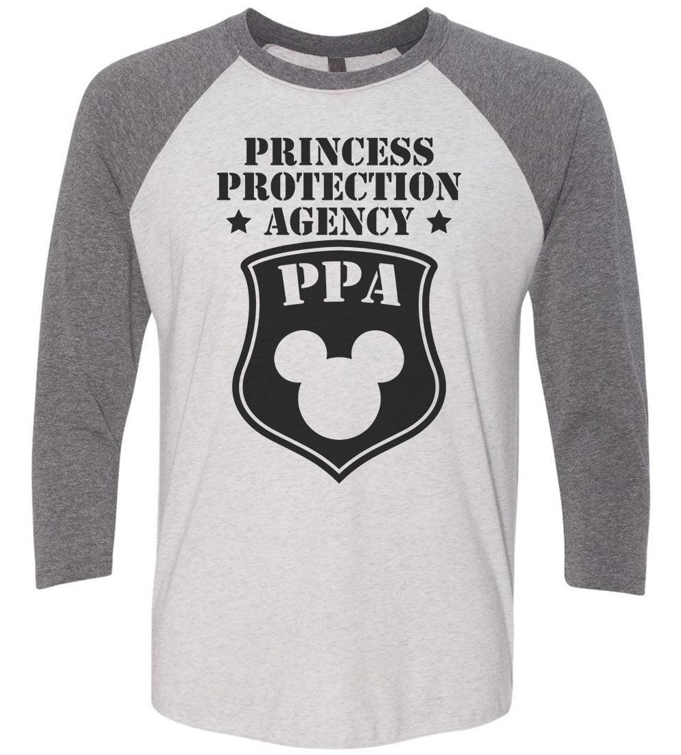 "Mens Or Womens Disney Baseball Tee - ""Princess Protection Agency PPA"" Mickey Mouse 3/4 Sleeve Raglan X-Large, White/Red"