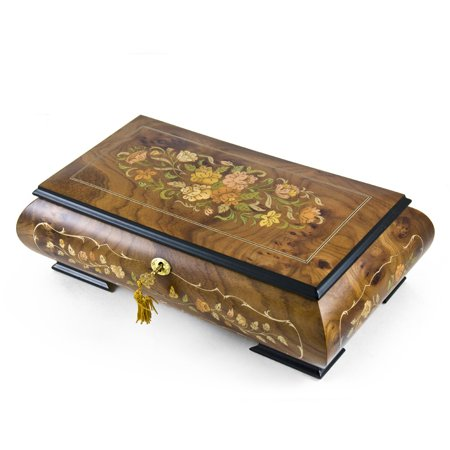 Handcrafted 22 Note Italian Double Level Floral Musical Jewelry Box - Wedding March - 1