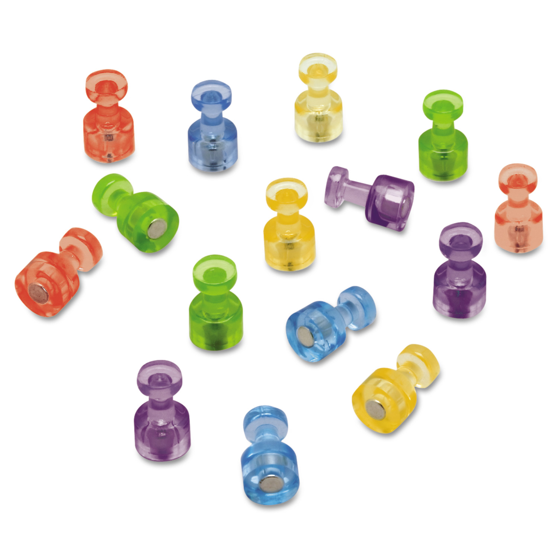 "Quartet Magnetic ""Push Pins"", 3/4"" dia, Assorted Colors, 20/Pack"