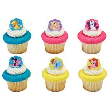 24 My Little Pony Cutie Beauty Cupcake Cake Rings Birthday Party Favors Toppers - My Little Pony Cupcake Topper
