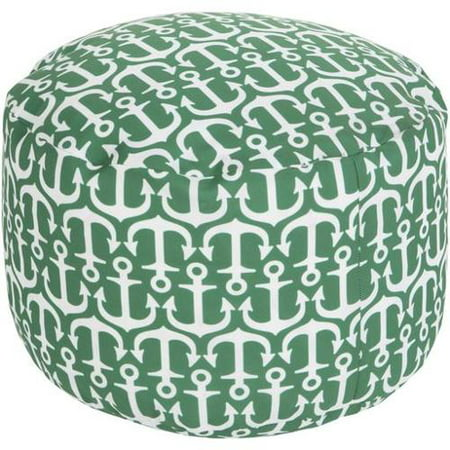 Miraculous 13 Jade Green And Ivory Anchor Away Round Outdoor Patio Pouf Ottoman Cjindustries Chair Design For Home Cjindustriesco