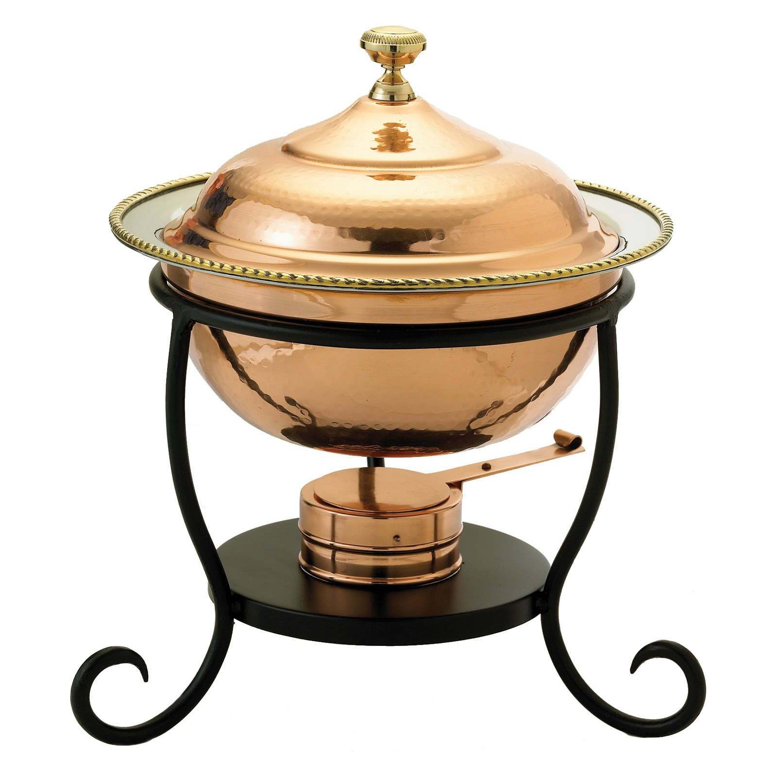 "10"" x 10½"" x 12"" Round Copper over Stainless Steel Chafing Dish, 1¾ Qt."