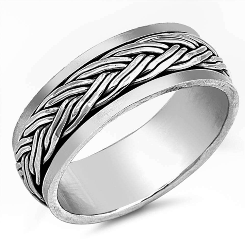 Spinner Band with Braided Design .925 Sterling Silver ring Sizes 7-13