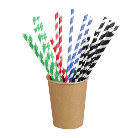 Natural Straw (Packnwood Natural Unwrapped Paper Straws, Pack of 500 Green, Pack Of 500)