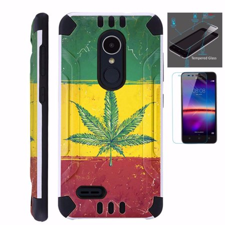 For LG Stylo 3 Case / LG Stylo 3 Plus Case (2017) LS777 MP450 M430 + Tempered Glass Screen Protector / Slim Dual Layer Brushed Texture Armor Hybrid TPU KomBatGuard Phone Cover (Weed Nation Flag)
